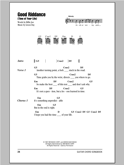 Good Riddance (Time Of Your Life) Sheet Music
