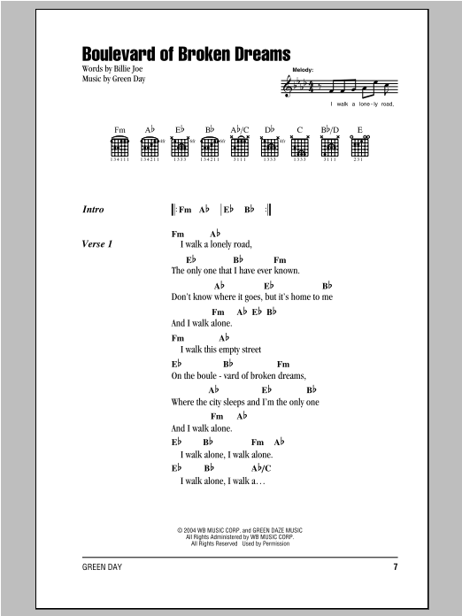 Boulevard Of Broken Dreams Sheet Music Direct