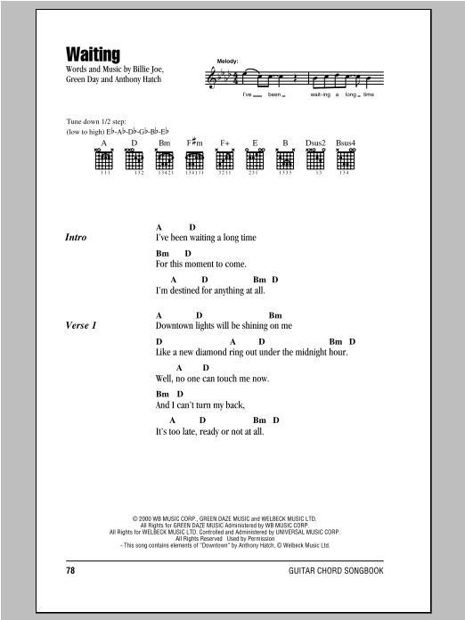 Waiting (Guitar Chords/Lyrics)
