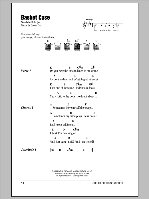 Basket Case Sheet Music