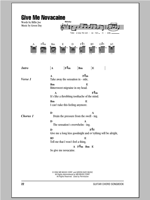 Give Me Novacaine by Green Day - Guitar Chords/Lyrics - Guitar ...