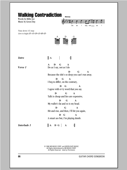 Walking Contradiction Sheet Music By Green Day Lyrics Chords 94096
