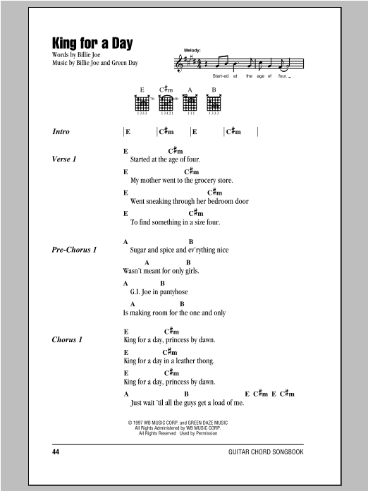King For A Day Sheet Music
