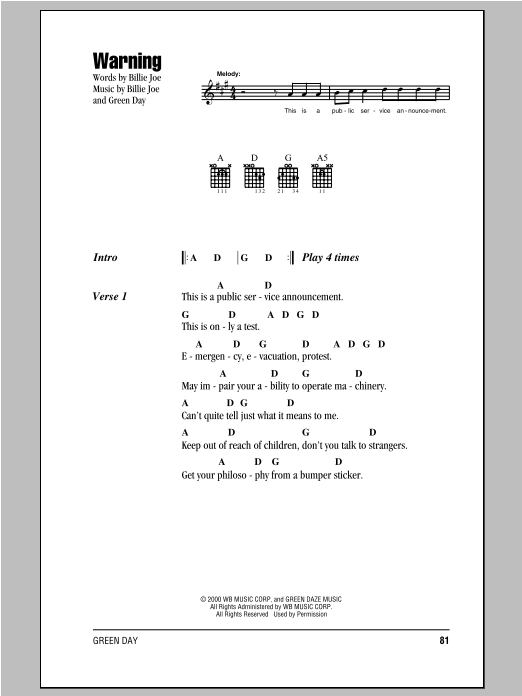 Warning Sheet Music