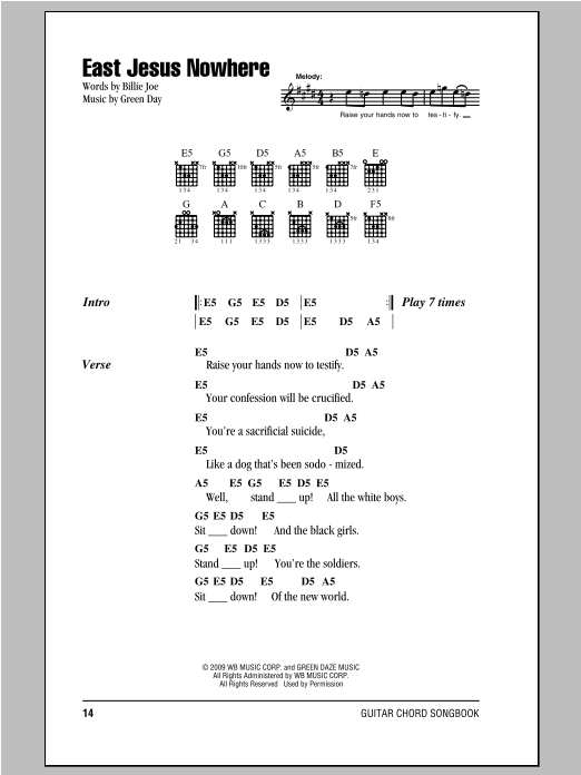 East Jesus Nowhere Sheet Music