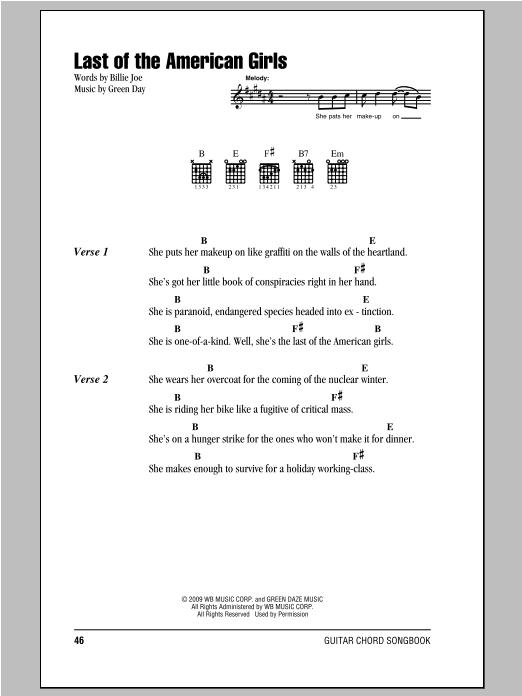 Last Of The American Girls (Guitar Chords/Lyrics)