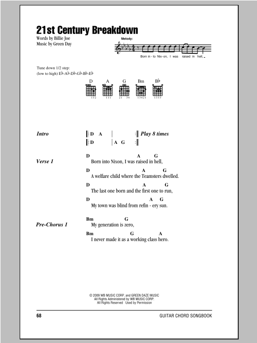 21st Century Breakdown Sheet Music