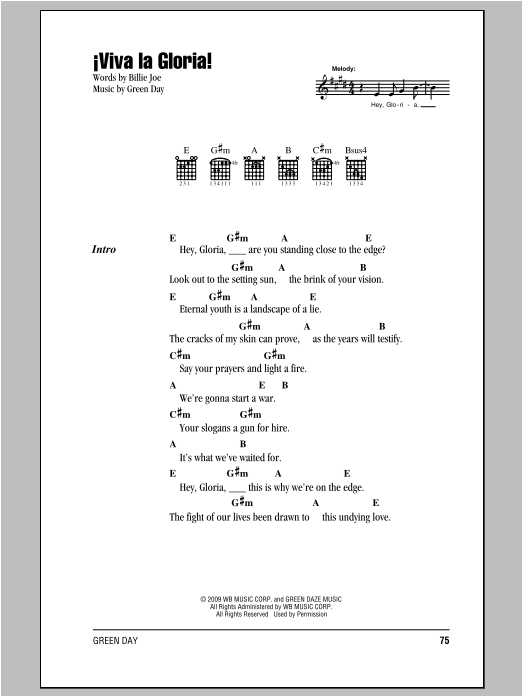 Viva La Gloria! Sheet Music