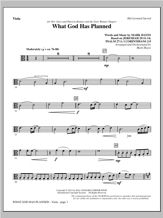 What God Has Planned - Viola (Choir Instrumental Pak)