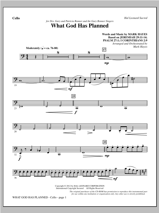 What God Has Planned - Cello Sheet Music