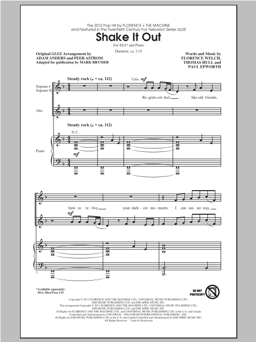 Shake It Out (arr. Mark Brymer) Sheet Music