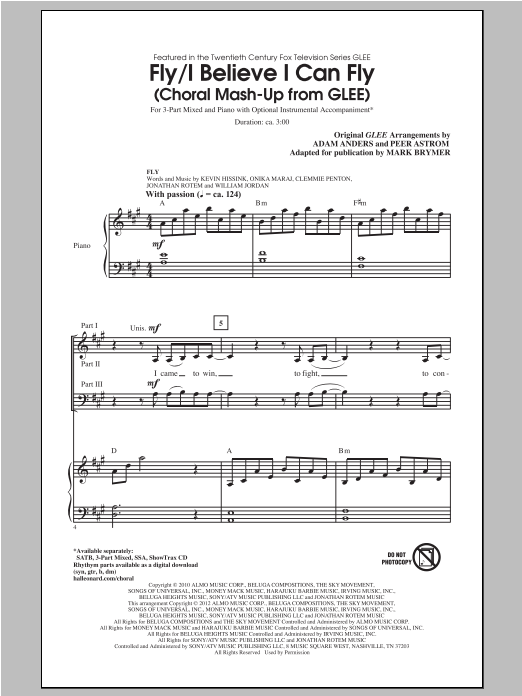 Fly / I Believe I Can Fly (Choral Mash-up from Glee) (ed. Mark Brymer) (3-Part Mixed Choir)