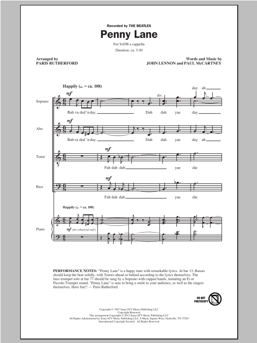 Penny Lane (arr. Paris Rutherford) Sheet Music