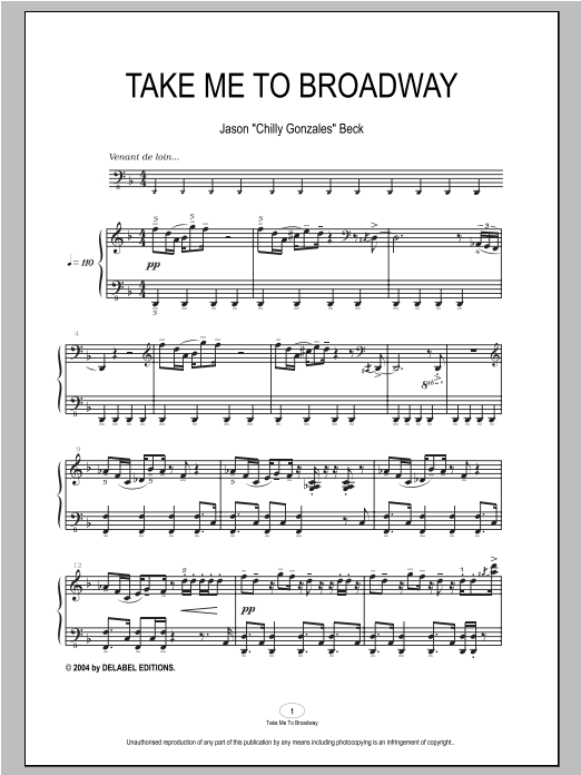 Take Me To Broadway Sheet Music