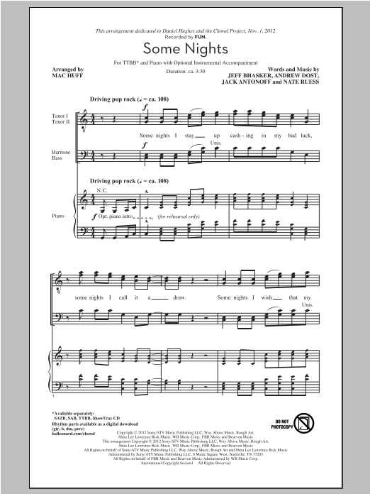 Some Nights (arr. Mac Huff) Sheet Music