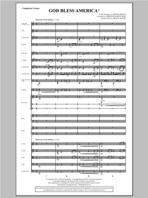 God Bless America - Score Sheet Music