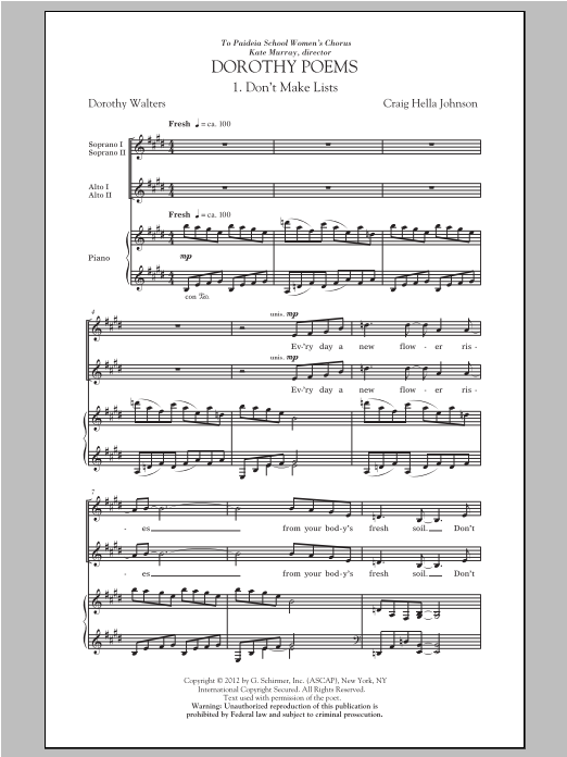 Don't Make Lists Sheet Music