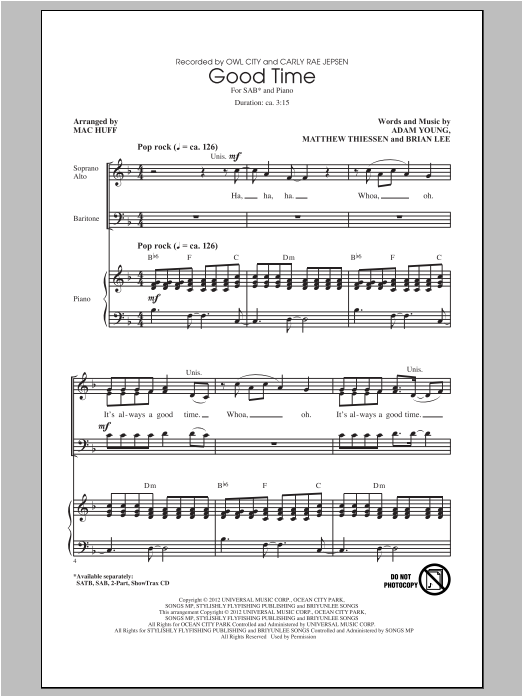 Good Time (arr. Mac Huff) (feat. Carly Rae Jepsen) Sheet Music