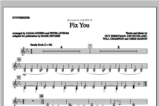 Fix You (complete set of parts) sheet music for orchestra/band by Mark Brymer, Coldplay and Glee Cast. Score Image Preview.