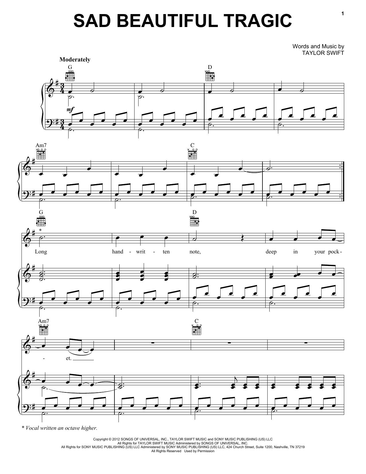 Sad Beautiful Tragic sheet music by Taylor Swift (Piano, Vocal u0026 Guitar (Right-Hand Melody) u2013 93905)