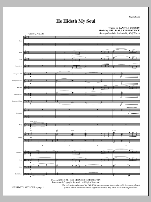 He Hideth My Soul (complete set of parts) sheet music for orchestra/band by Cliff Duren, Fanny J. Crosby and William J. Kirkpatrick. Score Image Preview.
