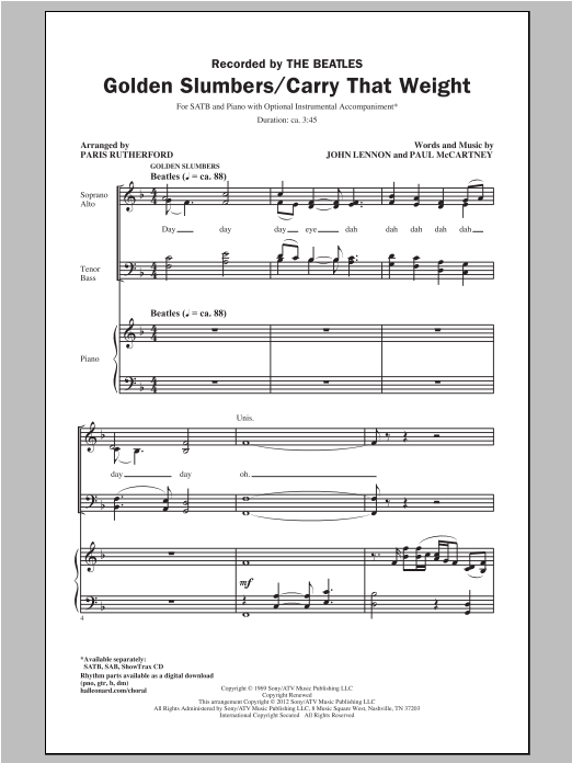 Partition chorale Golden Slumbers de Paris Rutherford - SATB