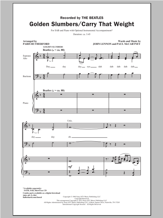 Golden Slumbers/Carry That Weight (arr. Paris Rutherford) (SAB Choir)