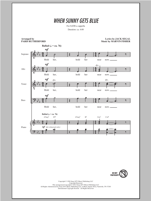 Partition chorale When Sunny Gets Blue de Paris Rutherford - SATB