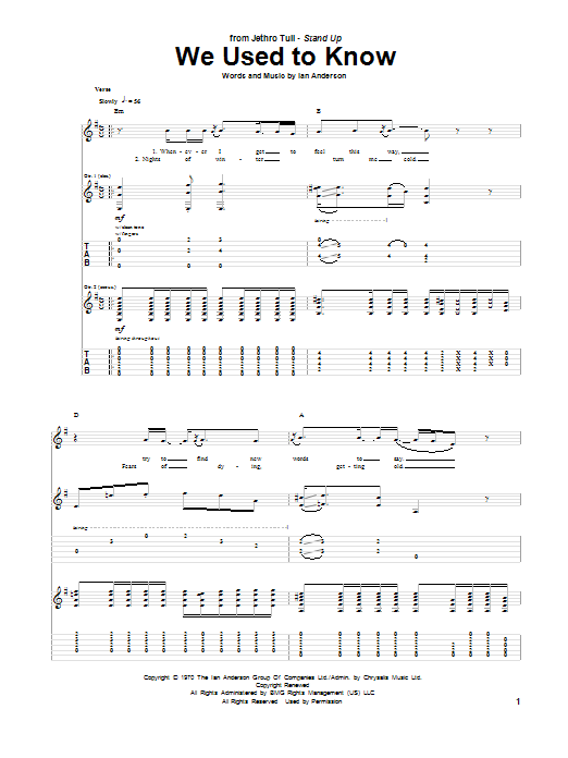 We Used To Know (Guitar Tab)
