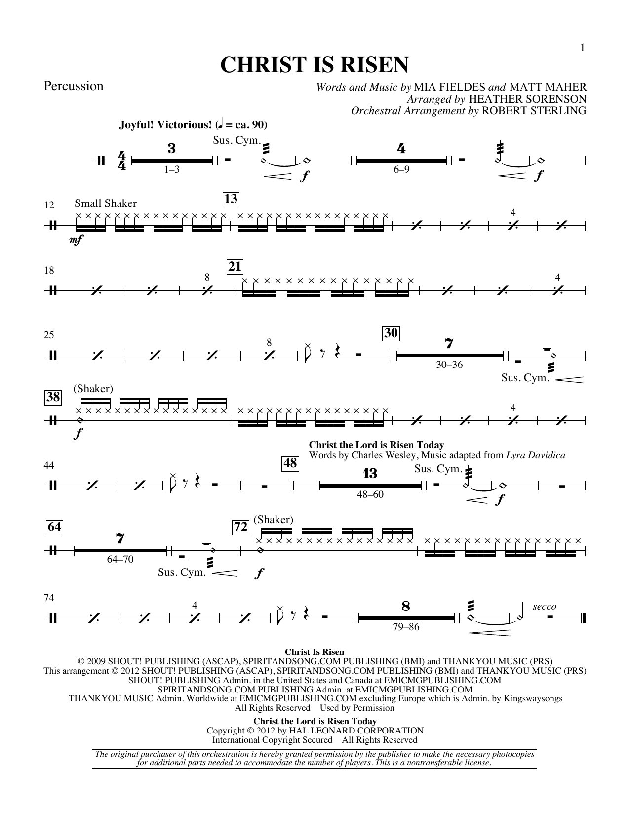 The Beautiful Christ (An Easter Celebration Of Grace) - Percussion Sheet Music