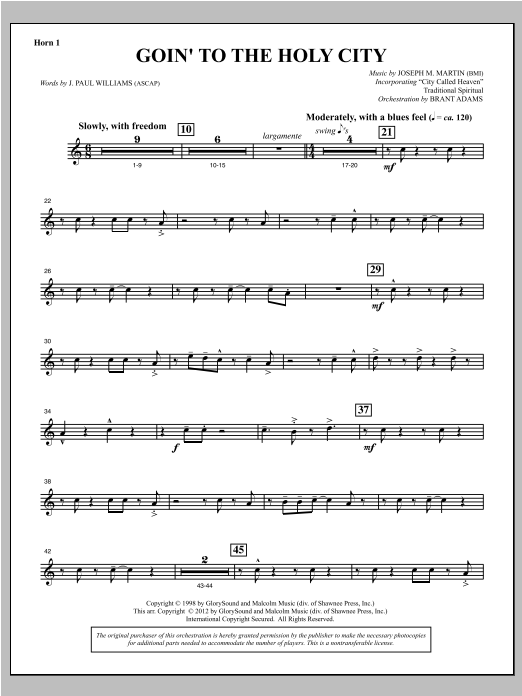 Goin To The Holy City - F Horn 1 Sheet Music