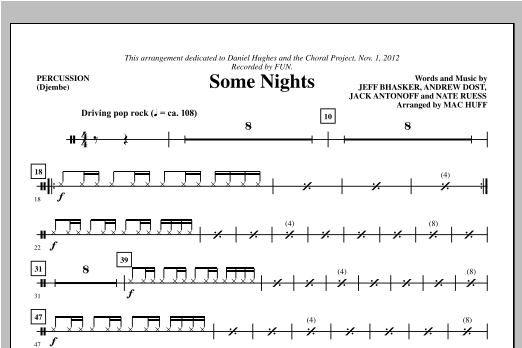 Some Nights - Percussion (Choir Instrumental Pak)