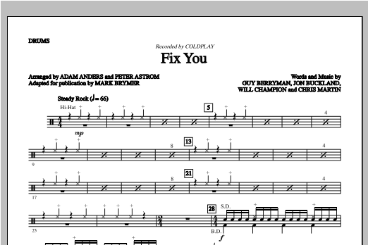Fix You - Drums Sheet Music