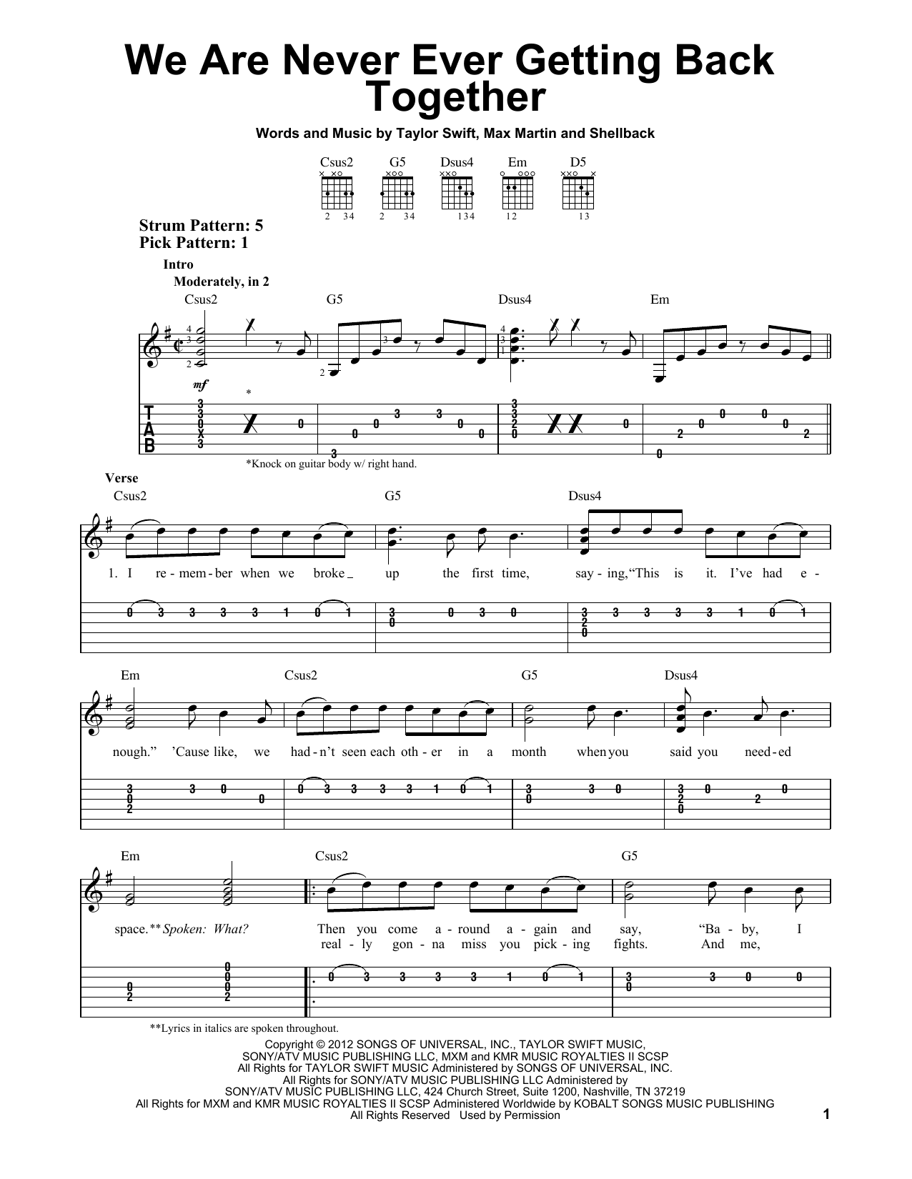 We Are Never Ever Getting Back Together (Easy Guitar Tab)