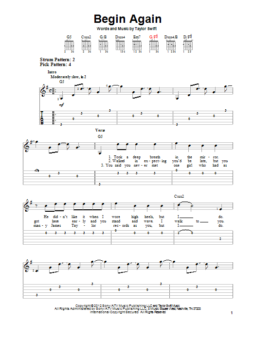 Begin Again By Taylor Swift Easy Guitar Tab Guitar Instructor