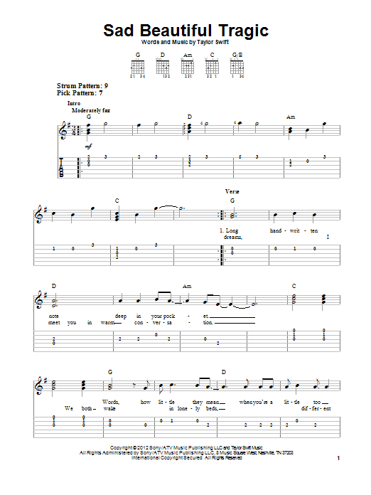 Sad Beautiful Tragic (Easy Guitar Tab)