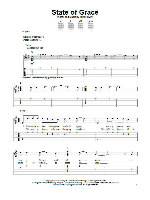 Tablature guitare State Of Grace de Taylor Swift - Tablature guitare facile