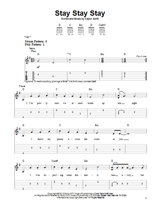 Stay Stay Stay Sheet Music Direct
