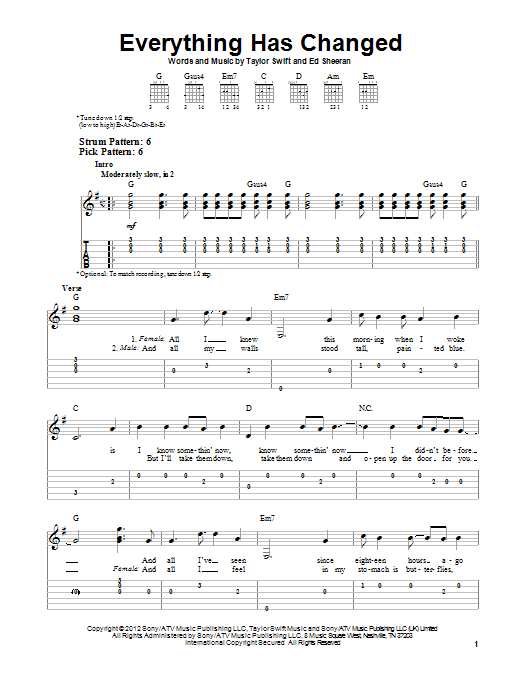 Everything Has Changed (Easy Guitar Tab)