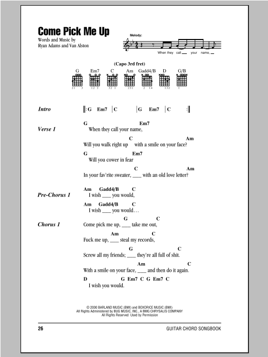 Come Pick Me Up sheet music by Ryan Adams (Lyrics & Chords – 94078)