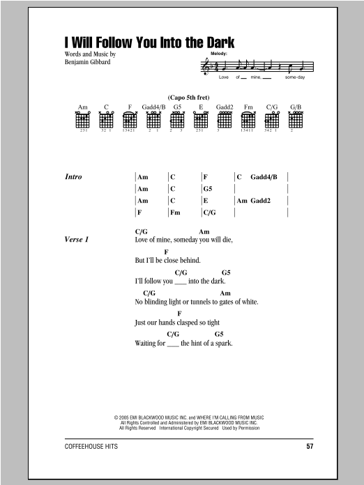 Guitar guitar tabs i will follow you into the dark : I Will Follow You Into The Dark by Death Cab For Cutie - Guitar ...