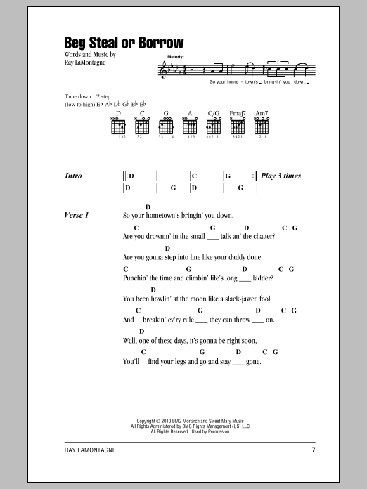Beg Steal Or Borrow Sheet Music