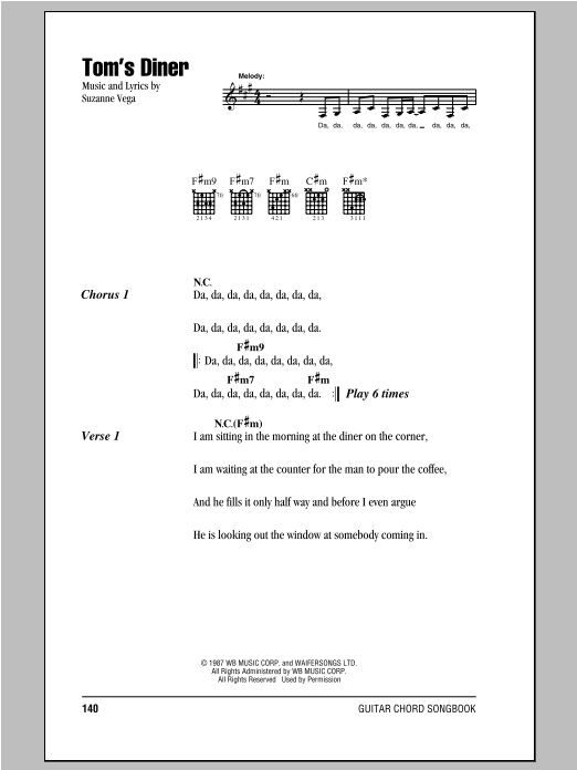 Tom's Diner Sheet Music