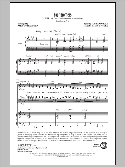 Partition chorale Four Brothers de Paris Rutherford - SATB