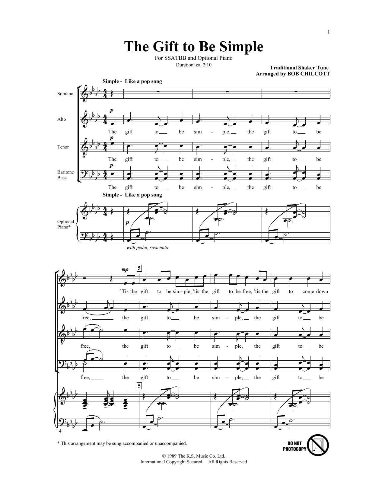 Partition chorale The Gift To Be Simple de Bob Chilcott - SATB