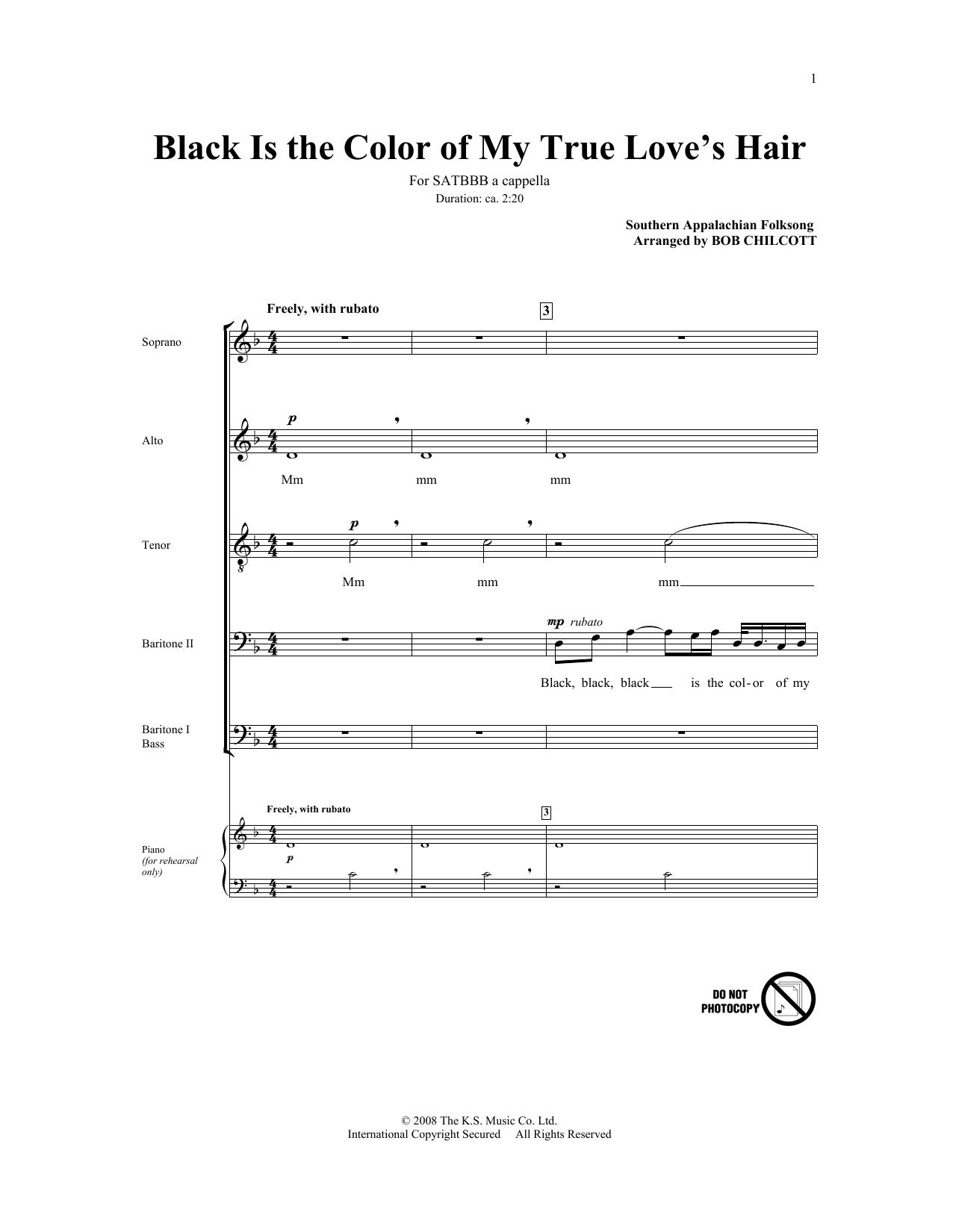 Partition chorale Black Is The Color Of My True Love's Hair de Bob Chilcott - SATB