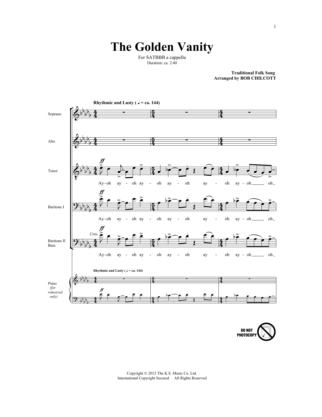 The Golden Vanity (arr. Bob Chilcott) Sheet Music