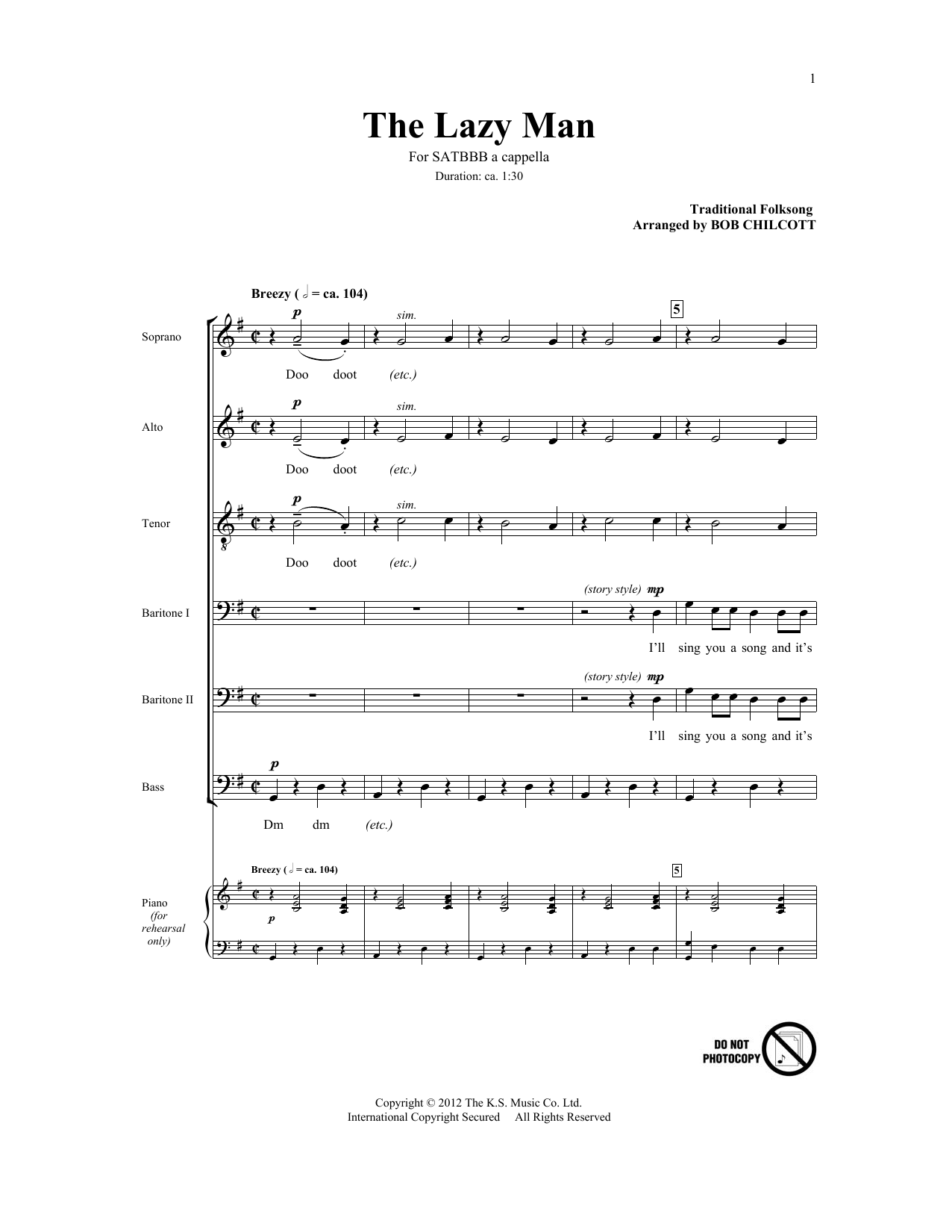The Lazy Man (arr. Bob Chilcott) Sheet Music