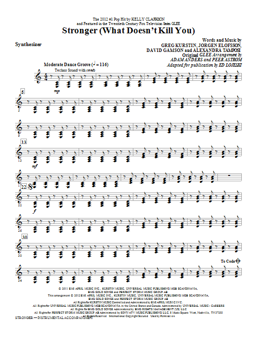 Stronger (What Doesn't Kill You) - Synthesizer Sheet Music