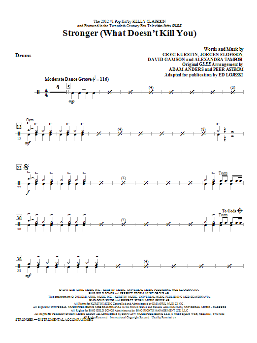Stronger (What Doesn't Kill You) - Drums Sheet Music